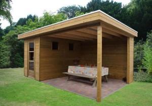 houten overkapping met plat dak